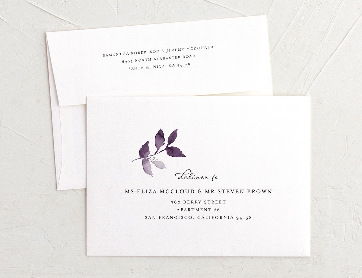 leafy frame recipient address printing envelopes in purple