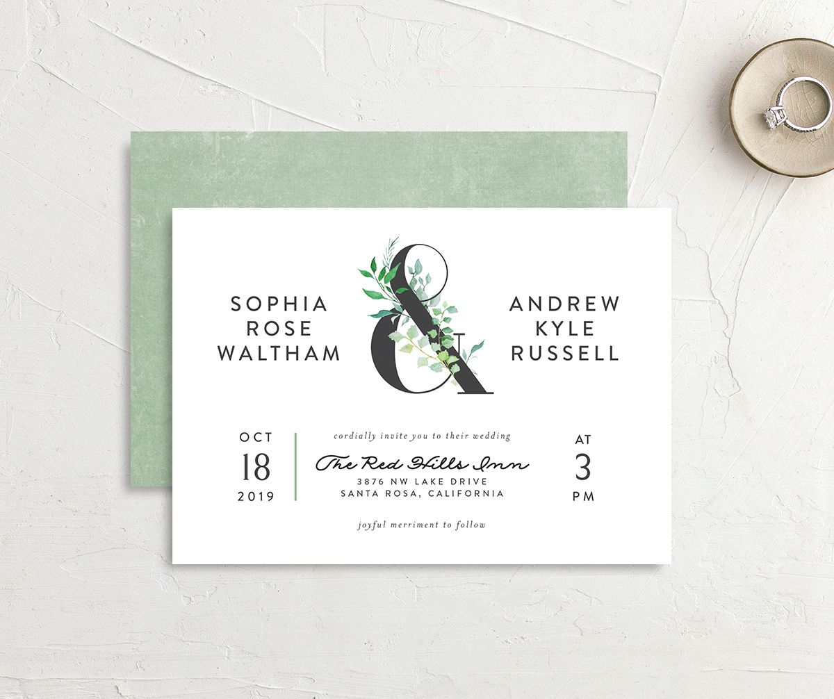leafy ampersand wedding invitations in green
