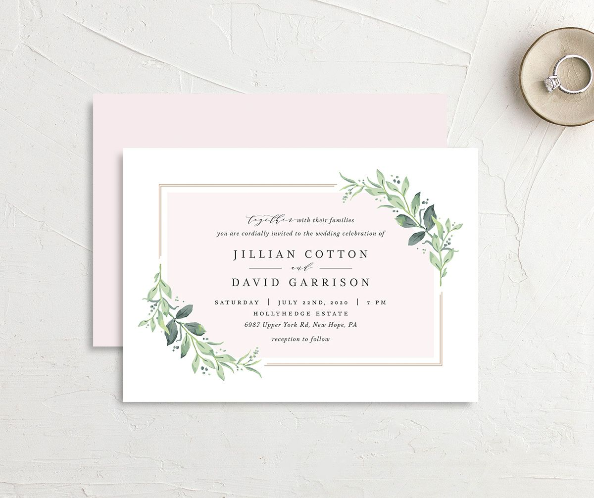 classic greenery rehearsal dinner invitation in pink