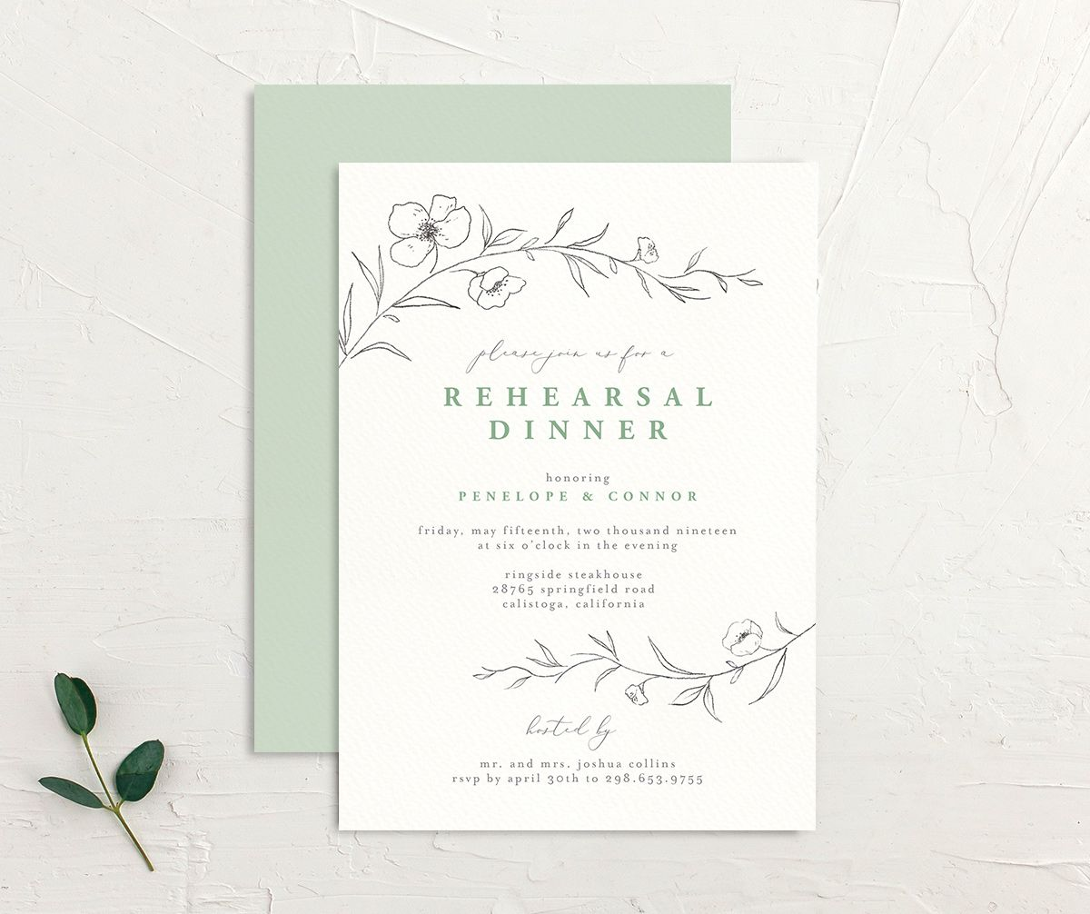 graceful botanical rehearsal dinner invites in green