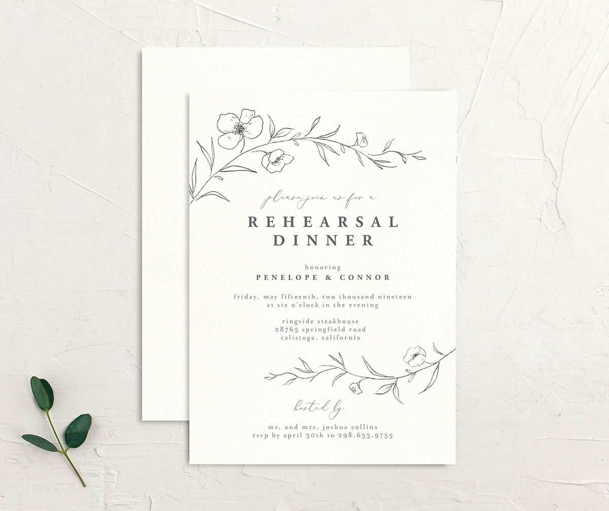 graceful botanical rehearsal dinner invites in grey