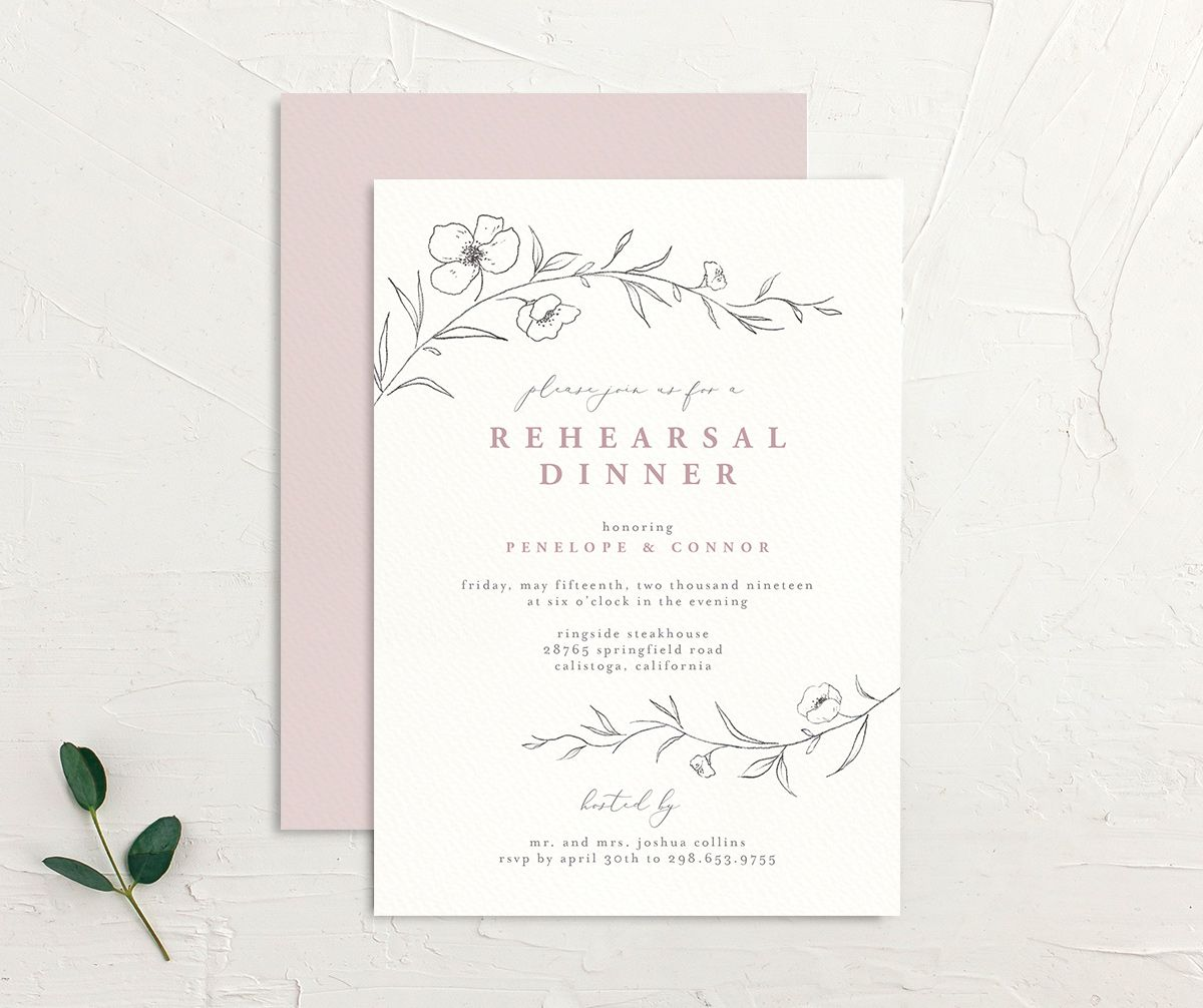 graceful botanical rehearsal dinner invites in pink