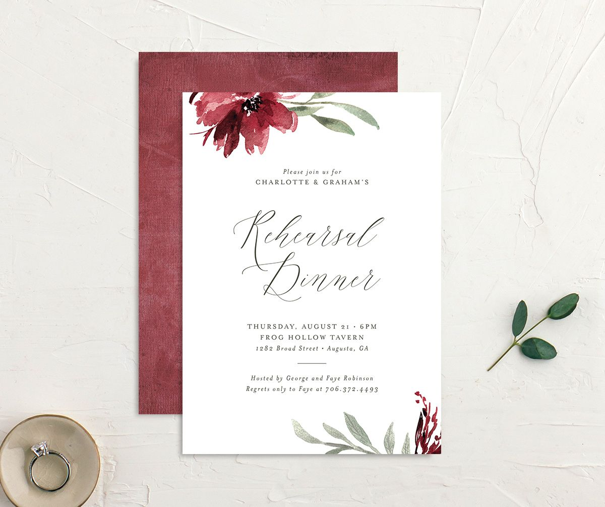 Muted floral rehearsal dinner invites in burgundy