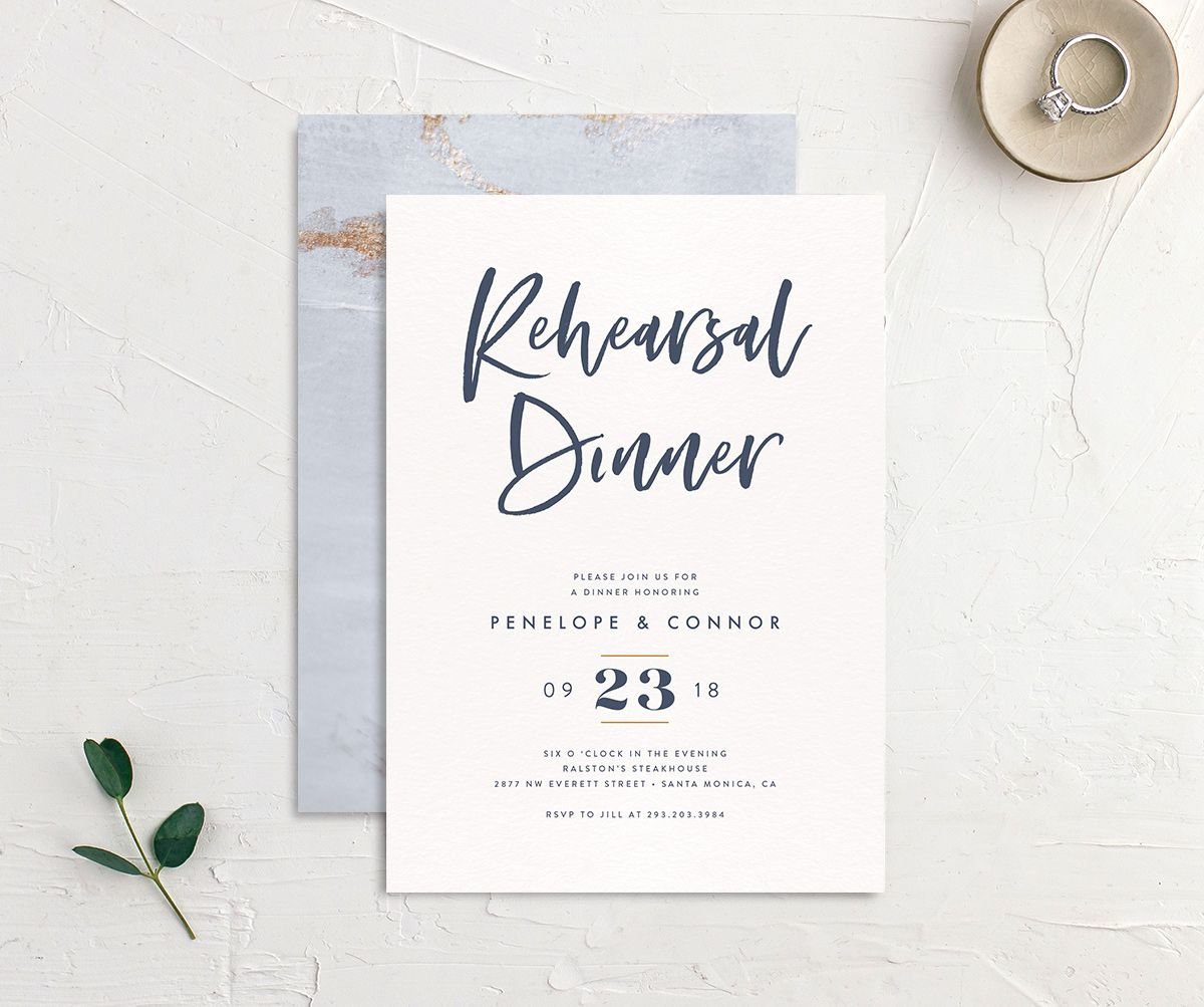 modern luxe rehearsal dinner invites in blue