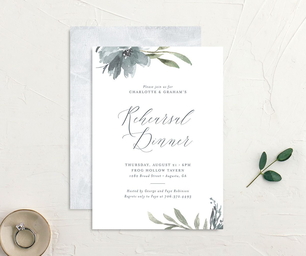 Muted floral rehearsal dinner invites in dusty blue