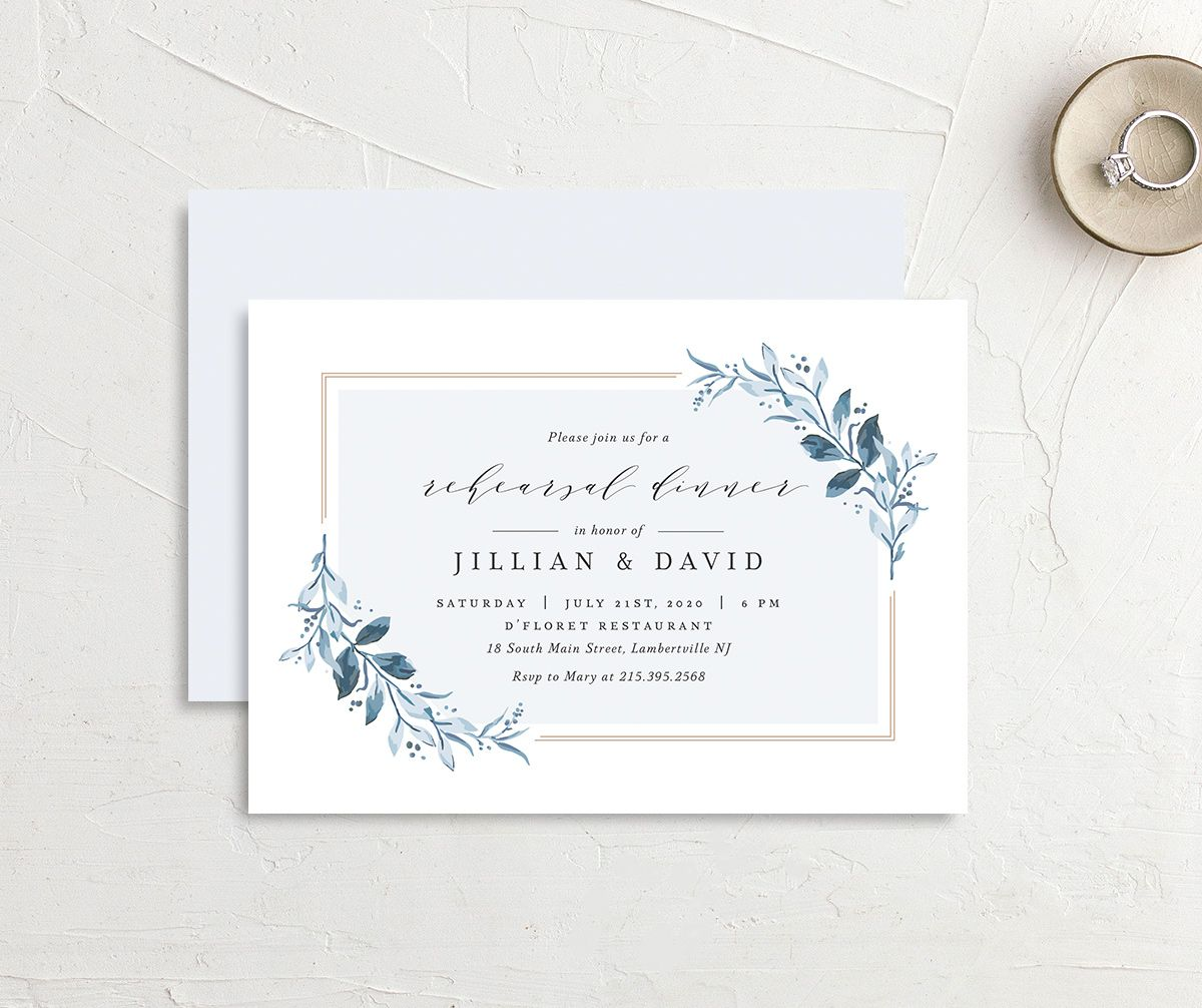 classic greenery rehearsal dinner invitation in blue