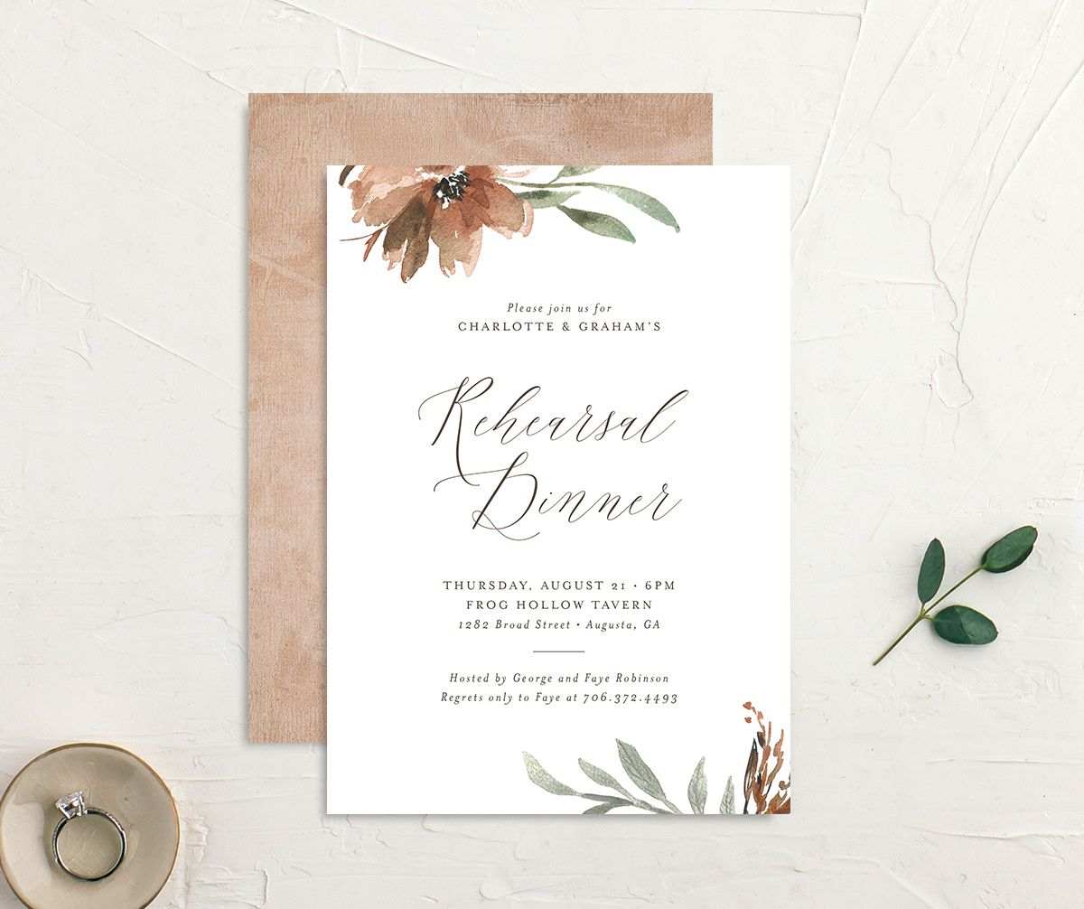 Muted floral rehearsal dinner invites in copper