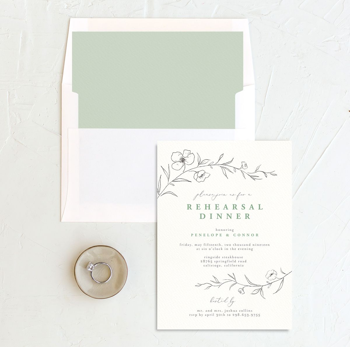 graceful botanical rehearsal dinner invitation in green with envelope liner