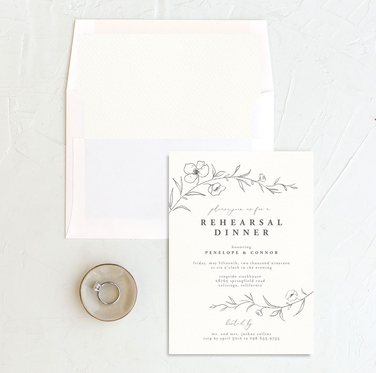 graceful botanical rehearsal dinner invitation in grey with envelope liner