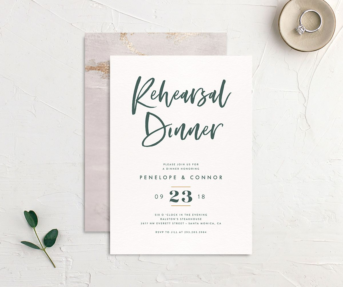 modern luxe rehearsal dinner party invitations in teal