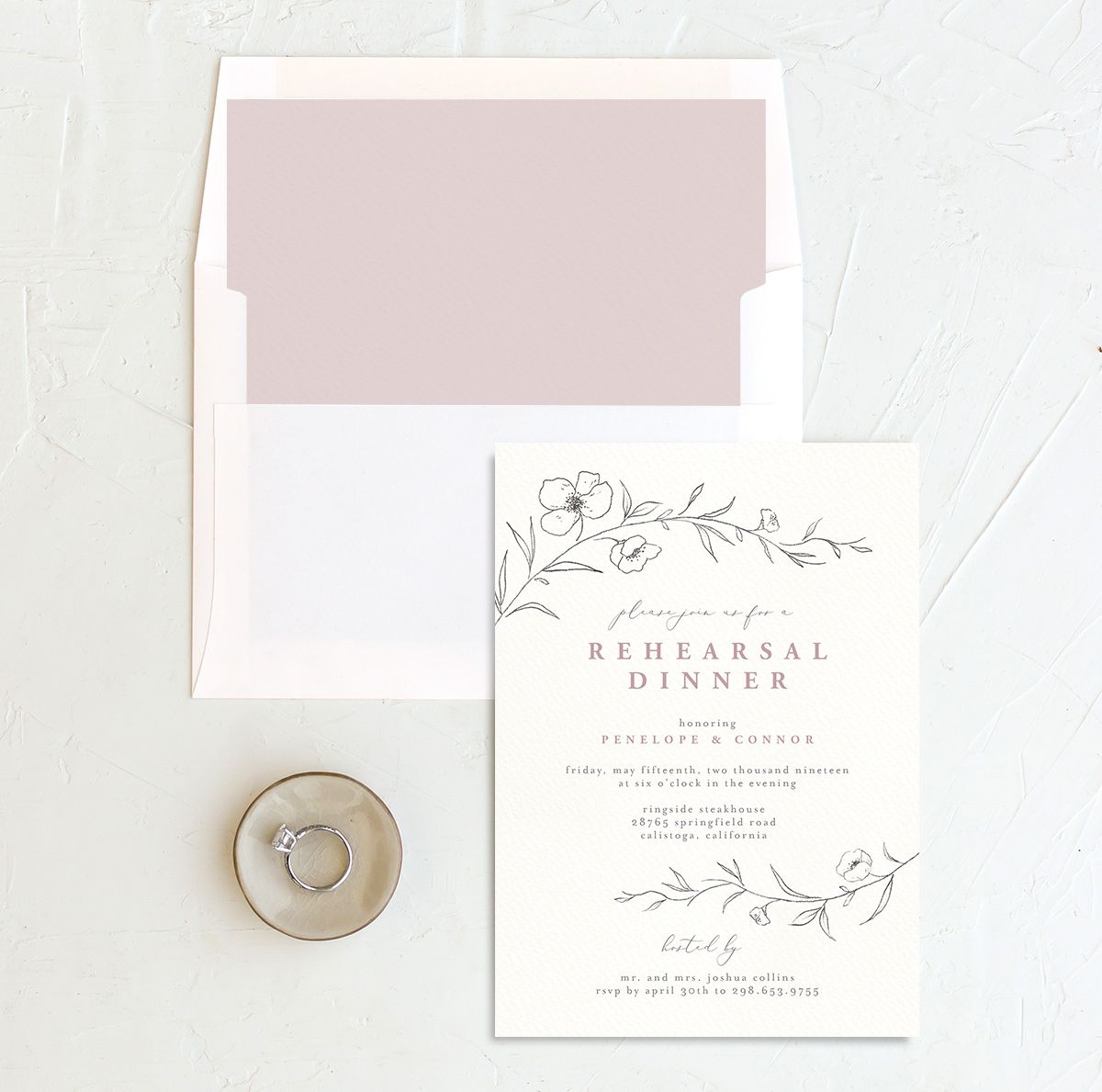 graceful botanical rehearsal dinner invitation in pink with envelope liner
