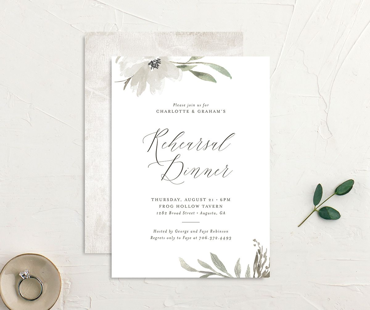 Muted floral rehearsal dinner invites in white