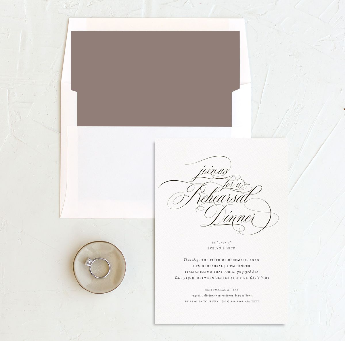 exquisite calligraphy rehearsal dinner invitation with envelope liner