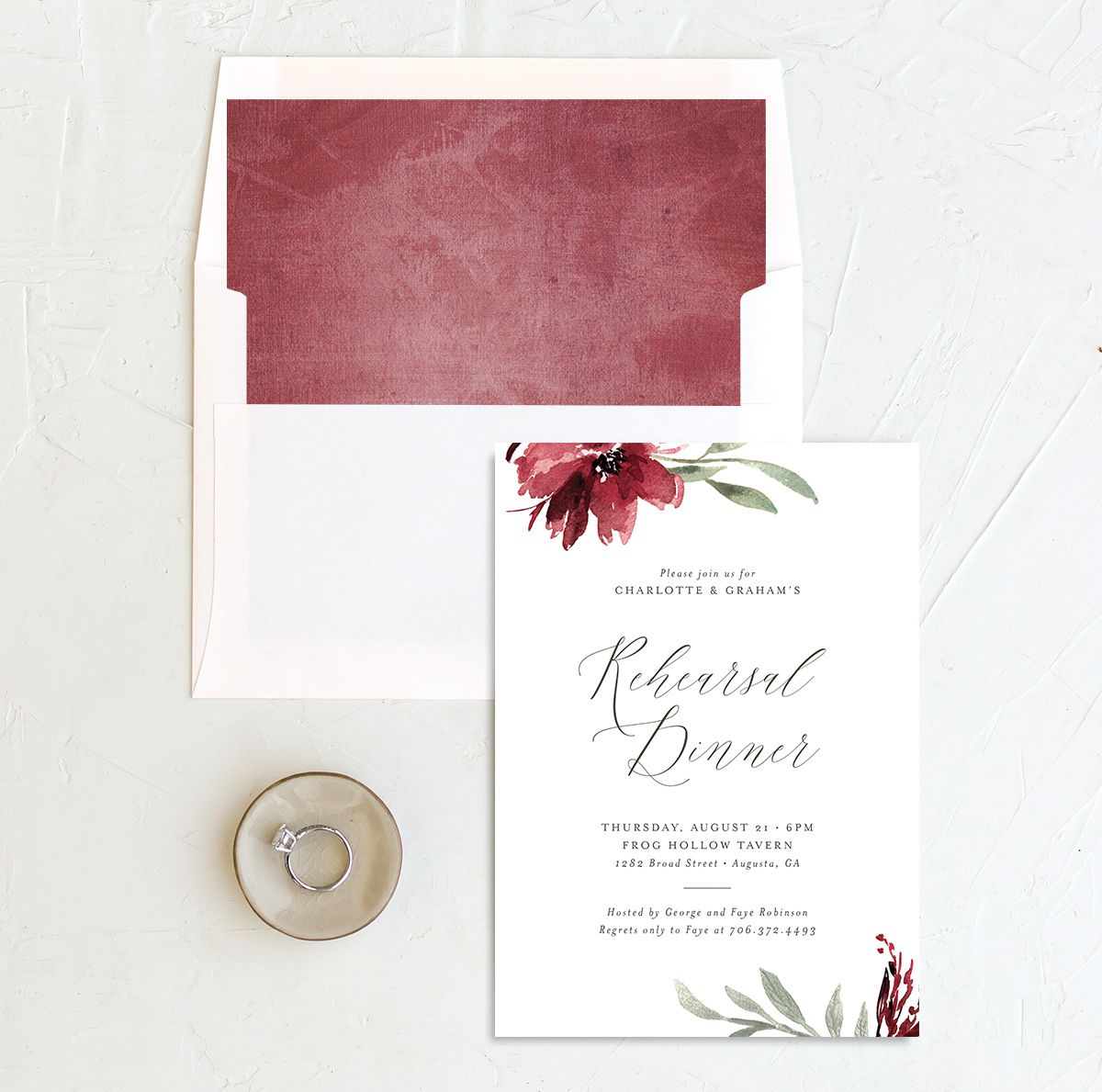 Muted floral rehearsal dinner invitations in burgundy and envelope liner