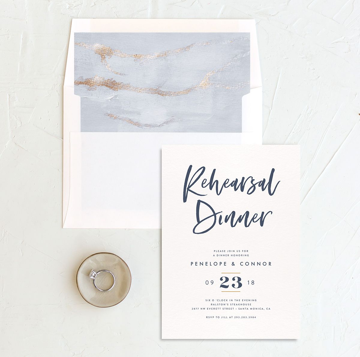modern luxe rehearsal dinner invites in blue with envelope liner