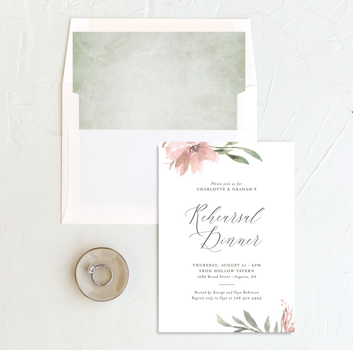 Muted floral rehearsal dinner invites in blush pink and envelope liner