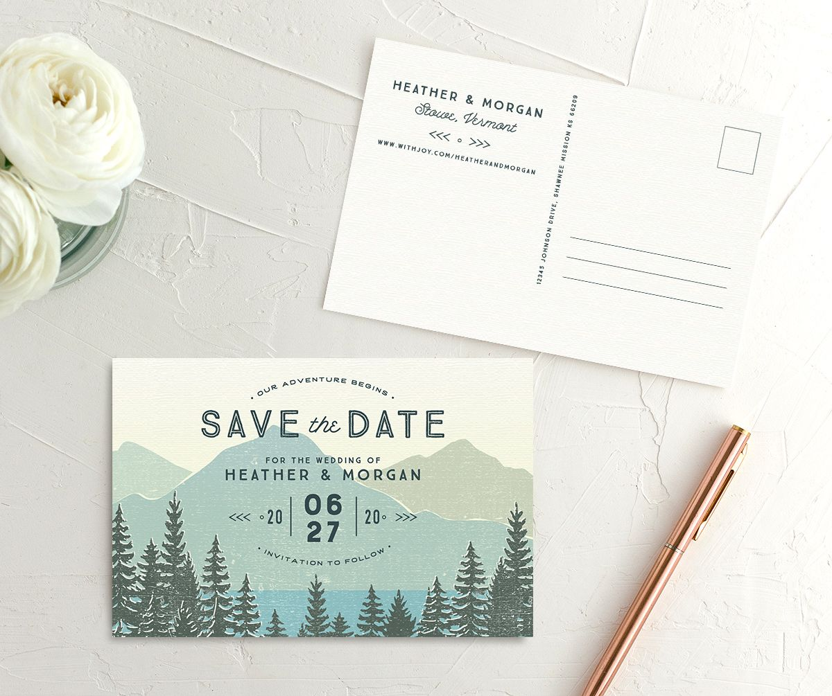 Vintage Mountain wedding announcement postcards