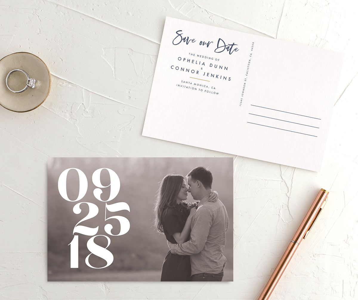modern luxe save the date postcard in blue