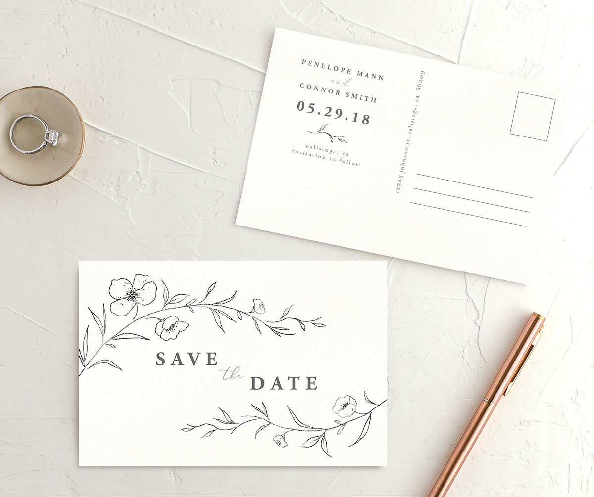 Graceful botanical save the date postcards in grey