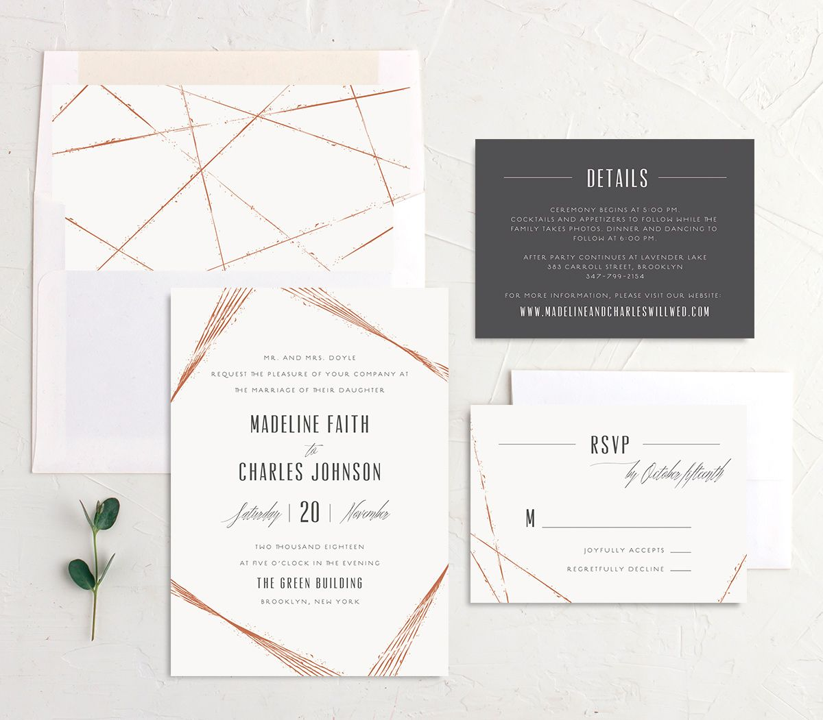 elegant industrial wedding invitation suite