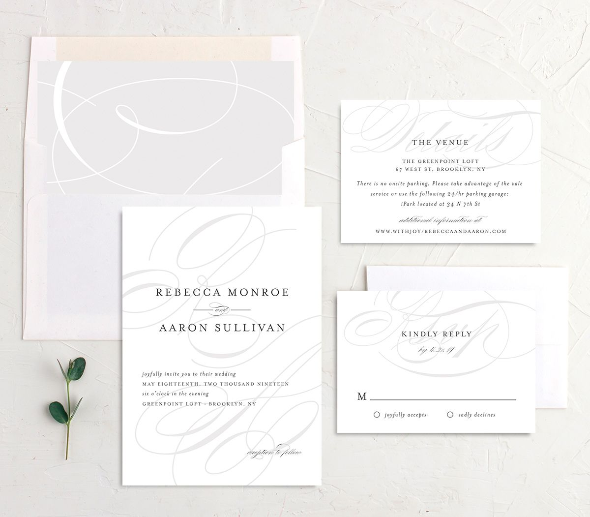 elegantly initialed wedding invitation stationery suite