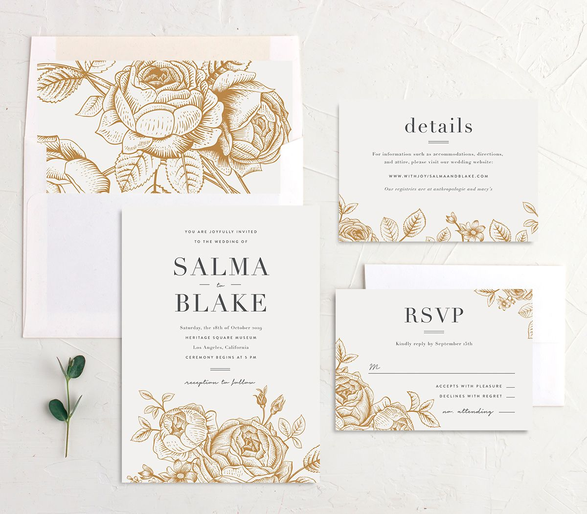 Etched botanical wedding invitation stationery suite