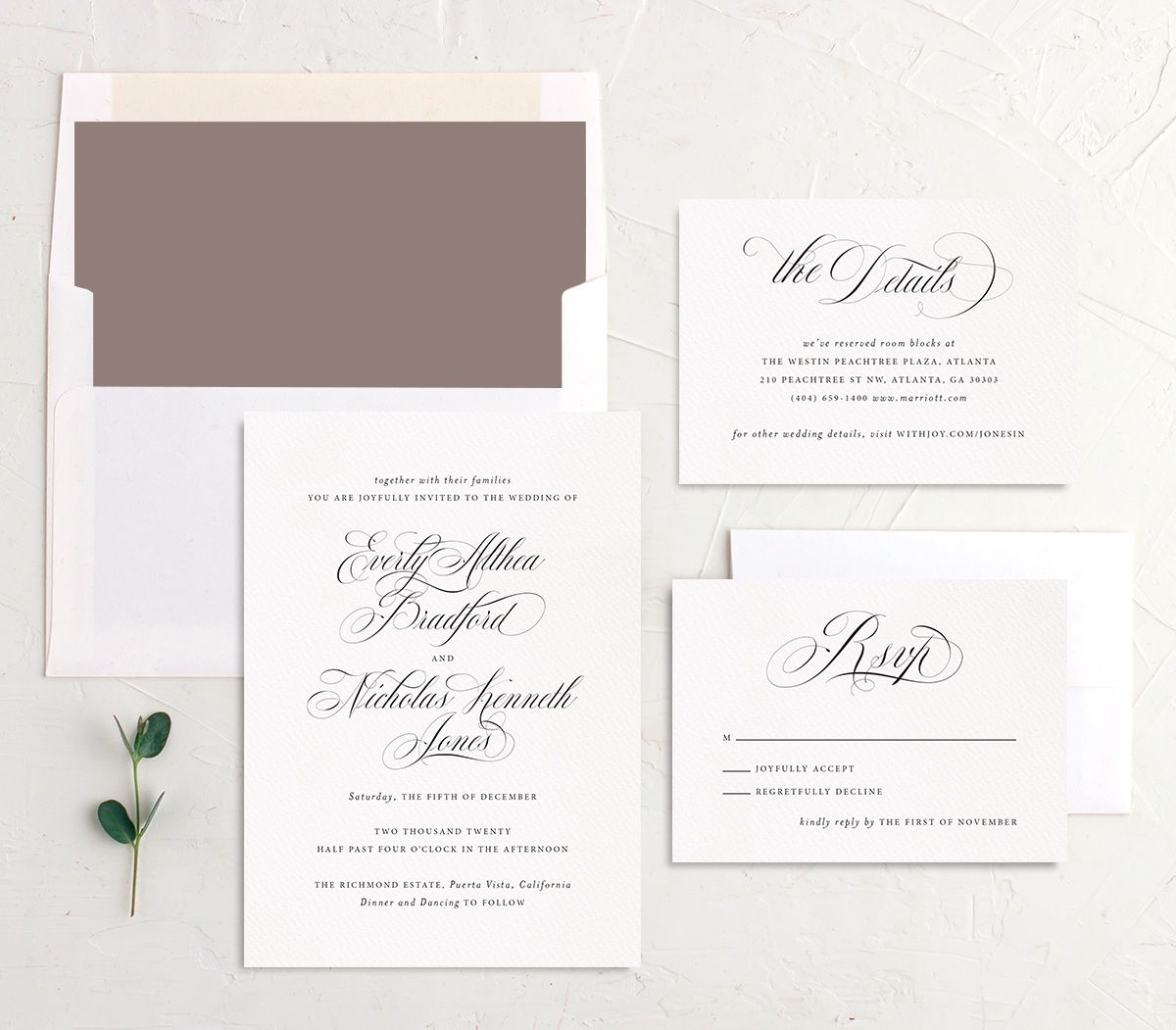 exquisite calligraphy elegant wedding invite stationery suite