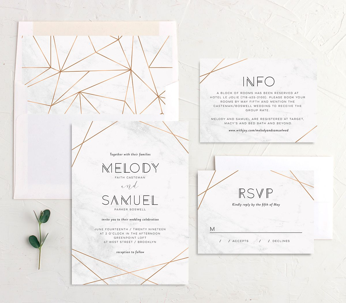 Geometric marble modern wedding invitation stationery suite