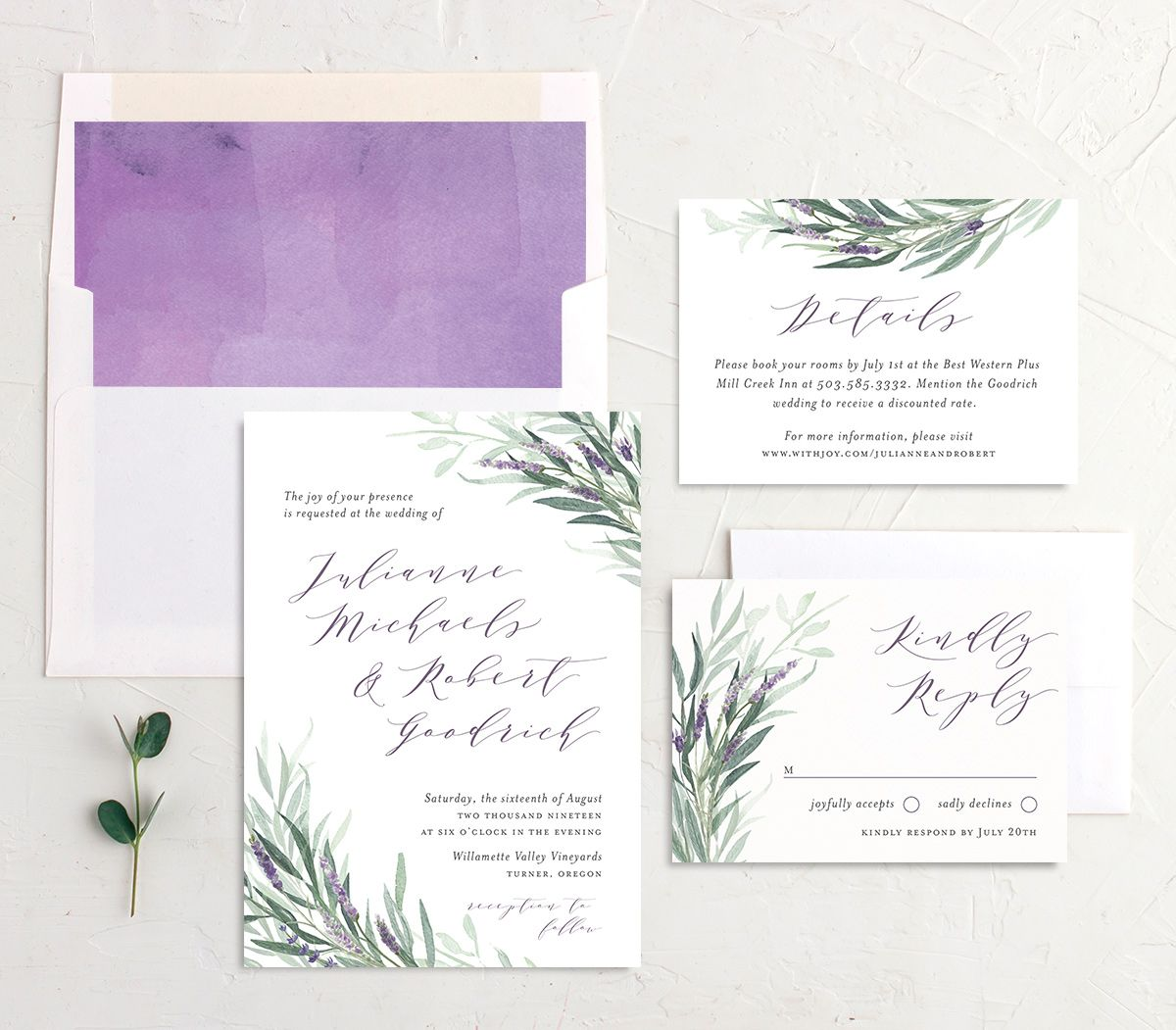 lavender sage wedding invitation stationery suite