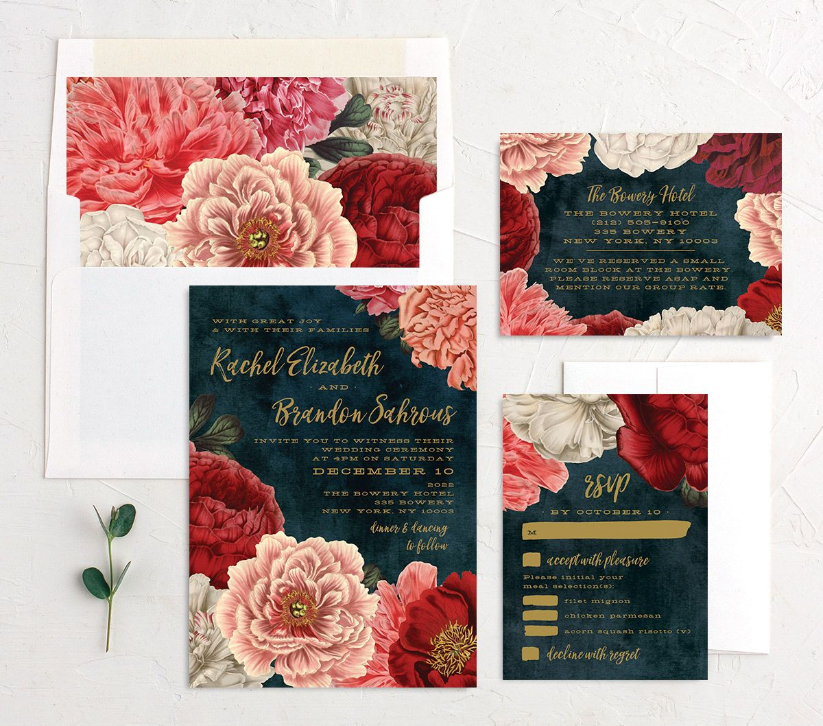 midnight peony wedding invitation stationery suite