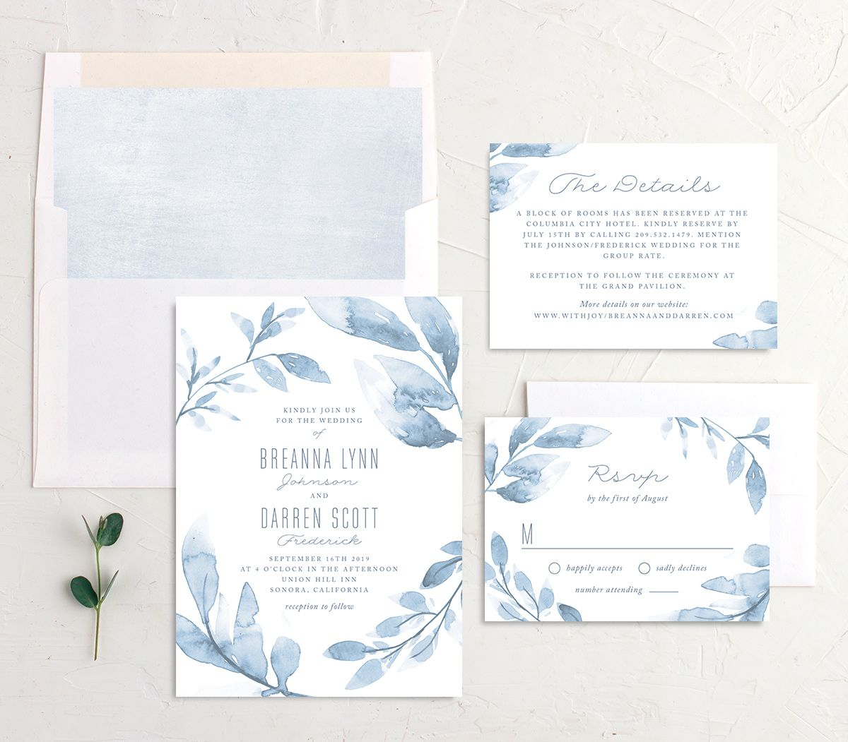 painted leaves wedding invitation stationery suite