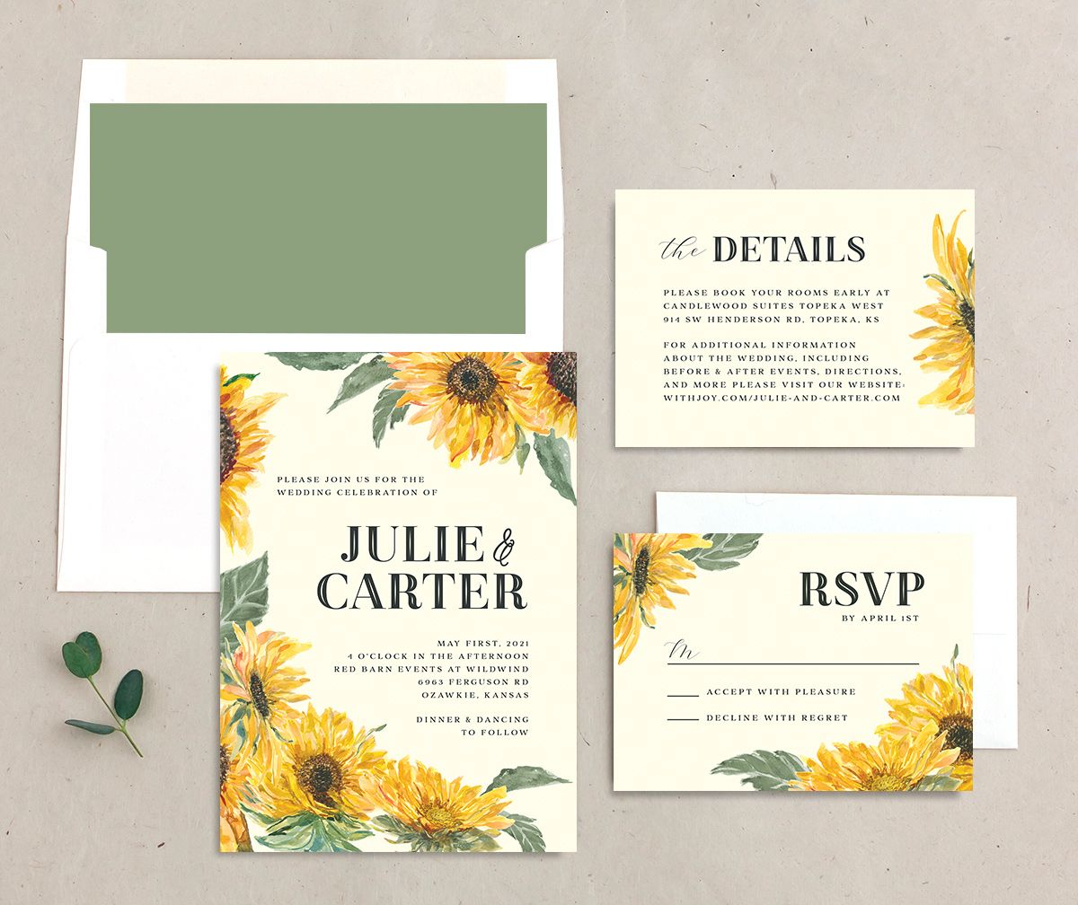 sunflower wedding invitation stationery suite
