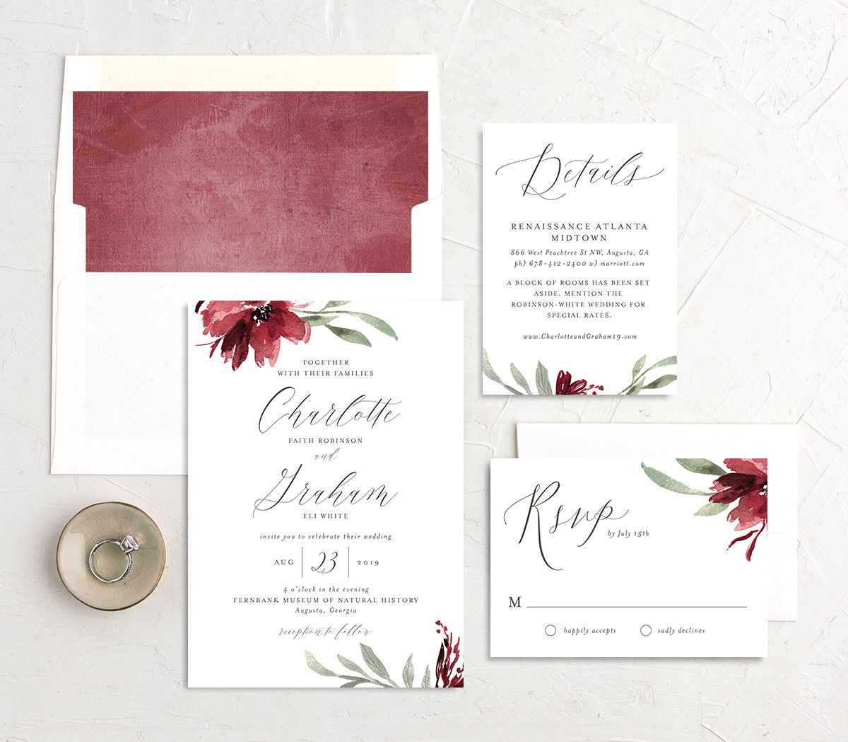 muted floral wedding invitation stationery suite in burgundy