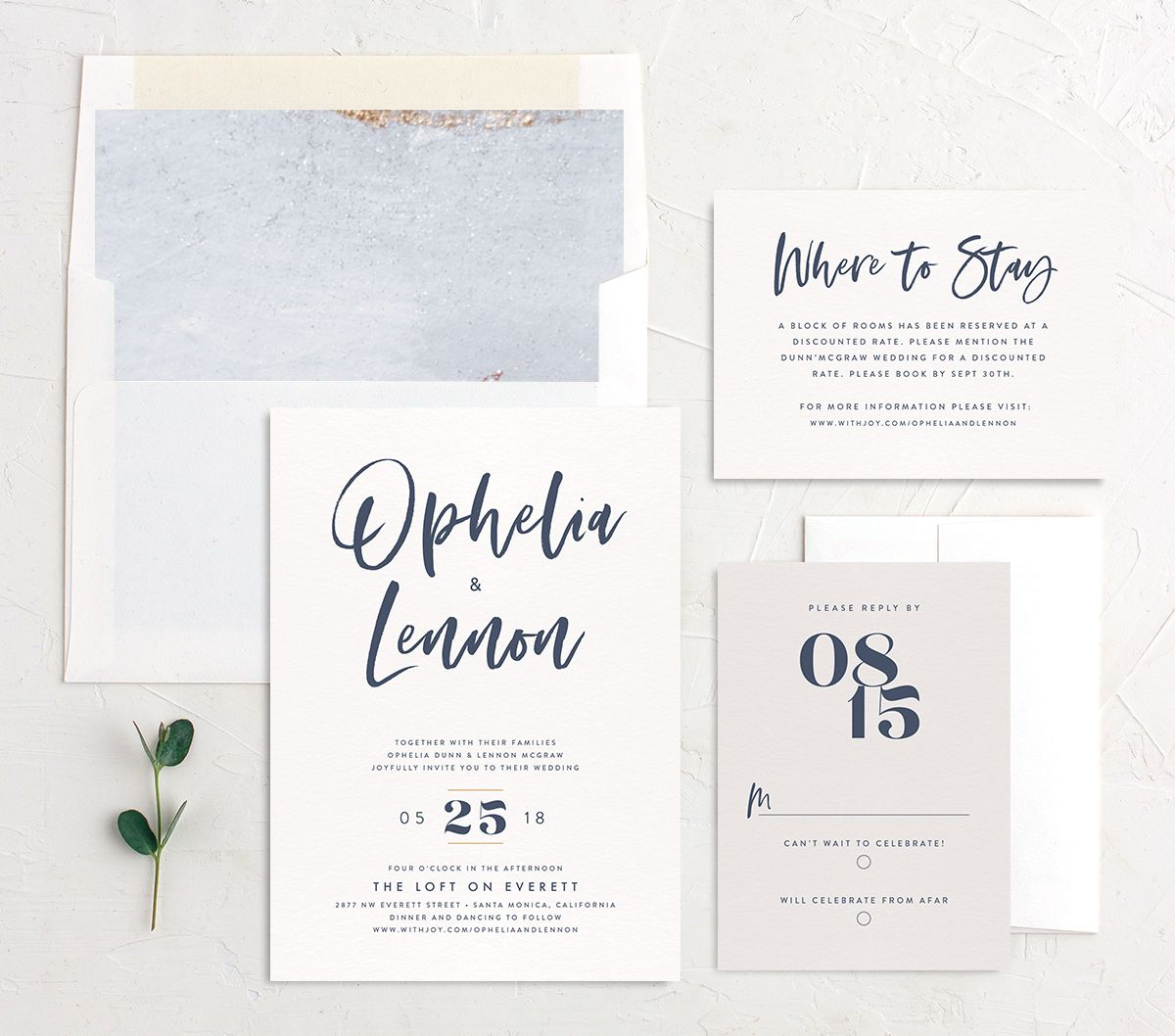 modern luxe wedding invitation stationery suite in blue