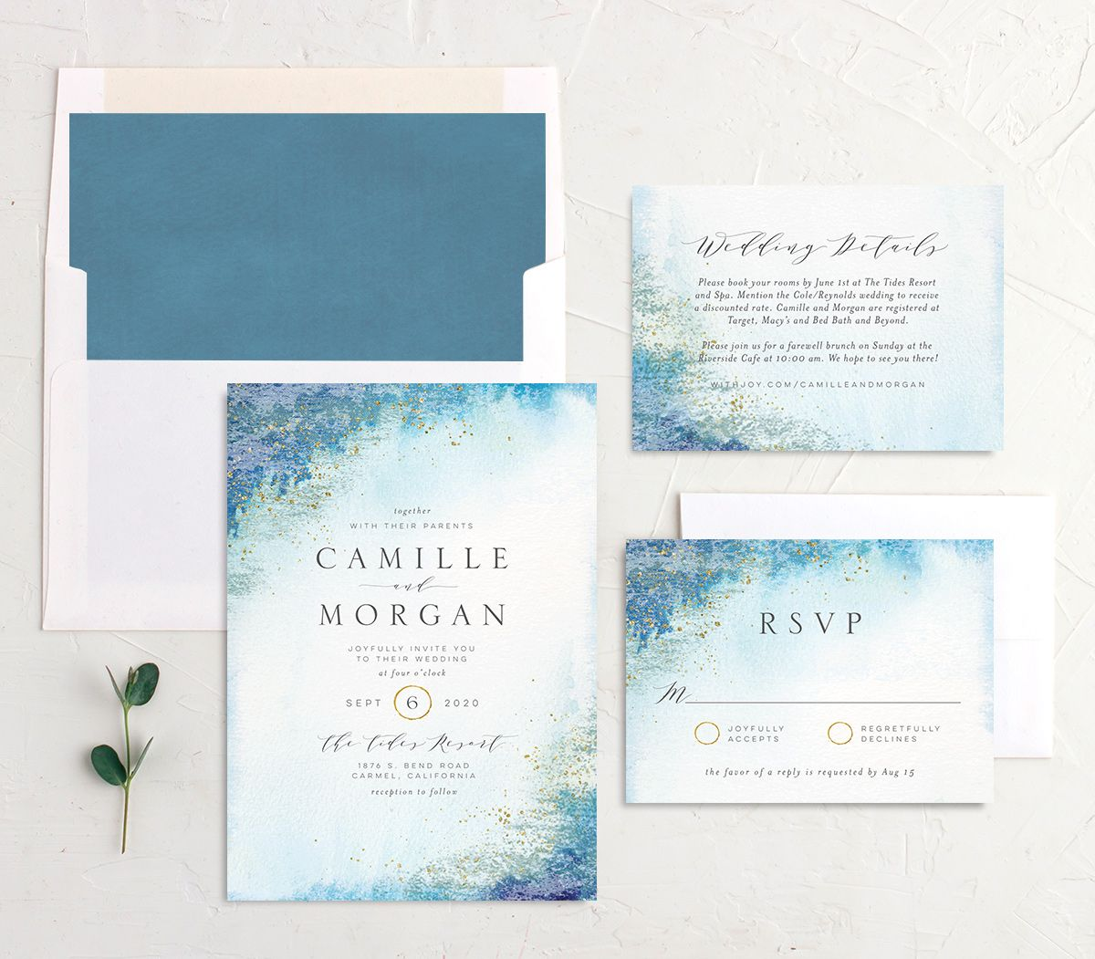 organic luxe wedding invitation stationery suite in blue