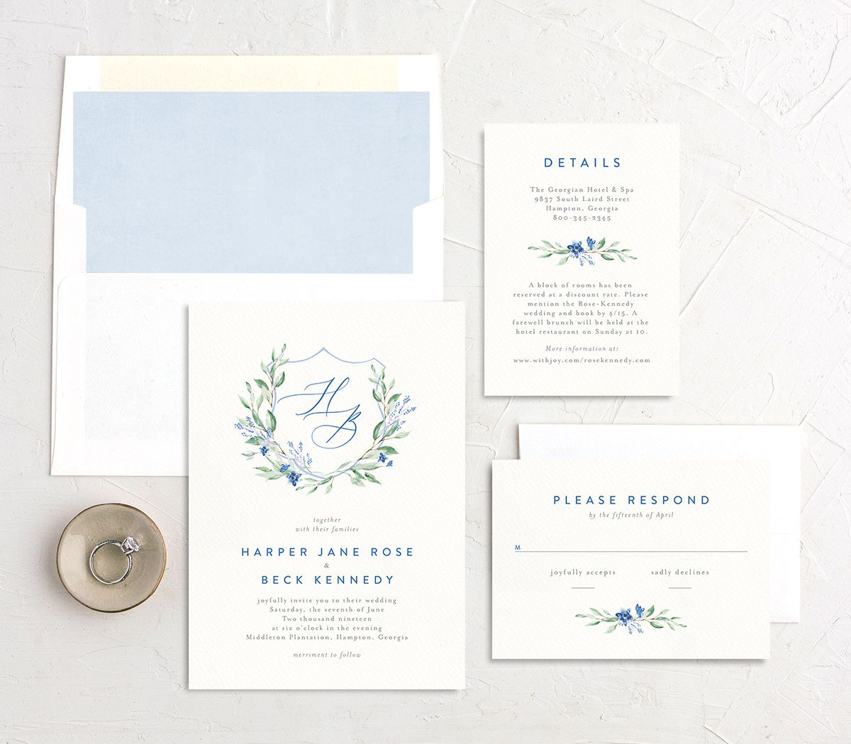 watercolor crest wedding invitation stationery suite in blue
