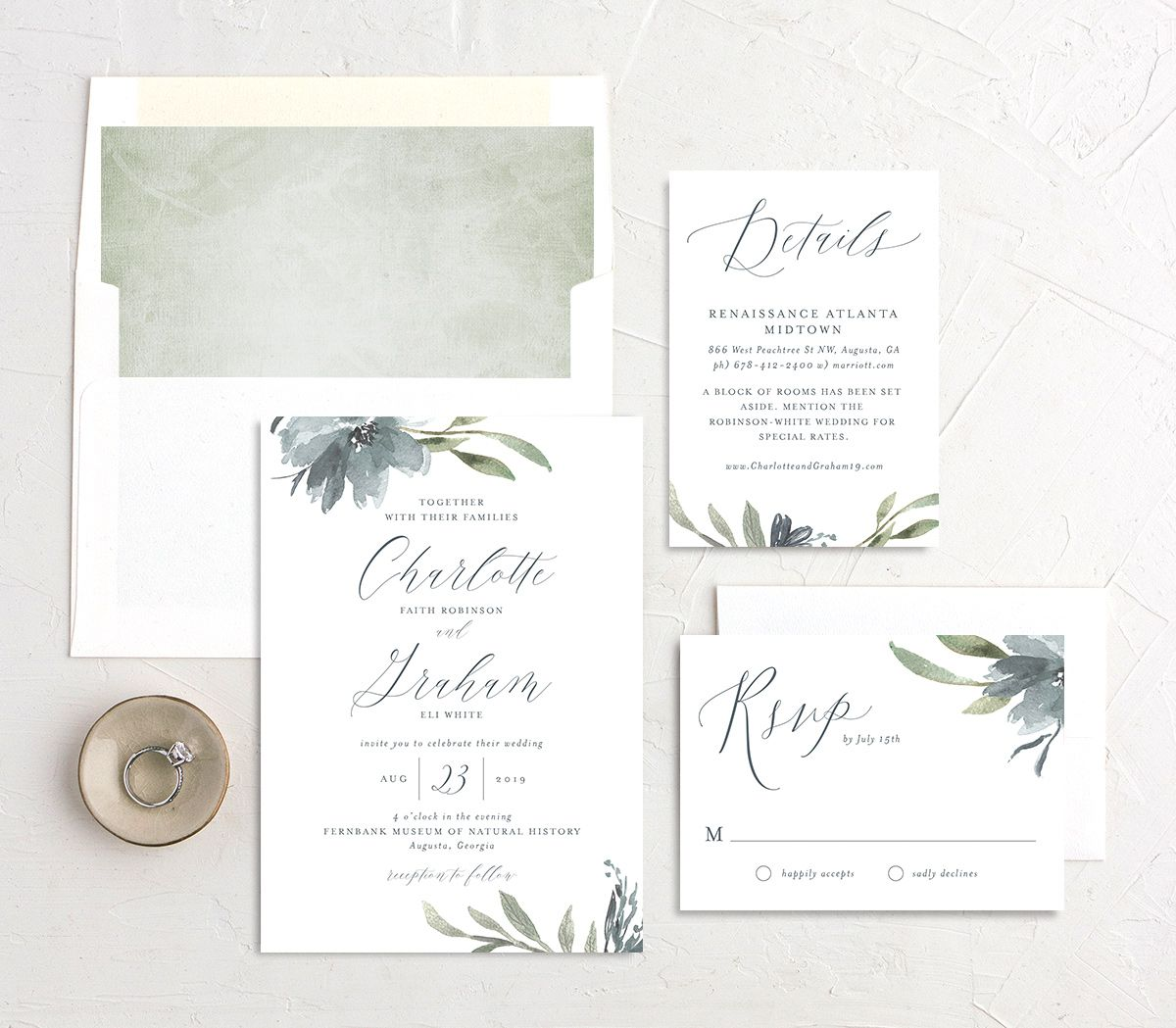 muted floral wedding invitation stationery suite in dusty blue