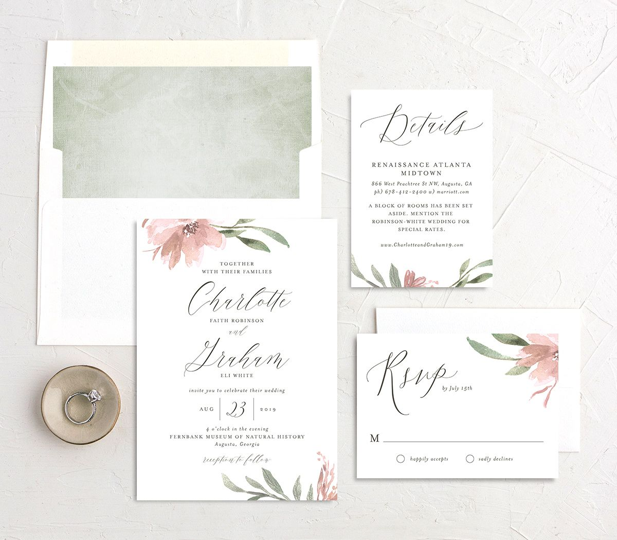 muted floral wedding invitation stationery suite in pink