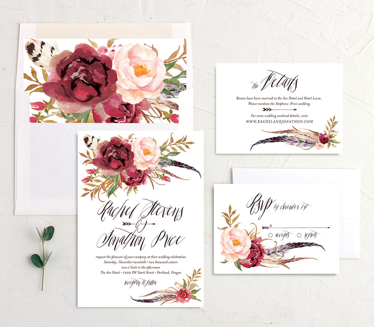 bohemian floral wedding invitation stationery suite in burgundy