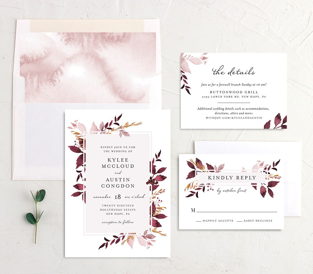 leafy frame wedding invitation suite in burgundy