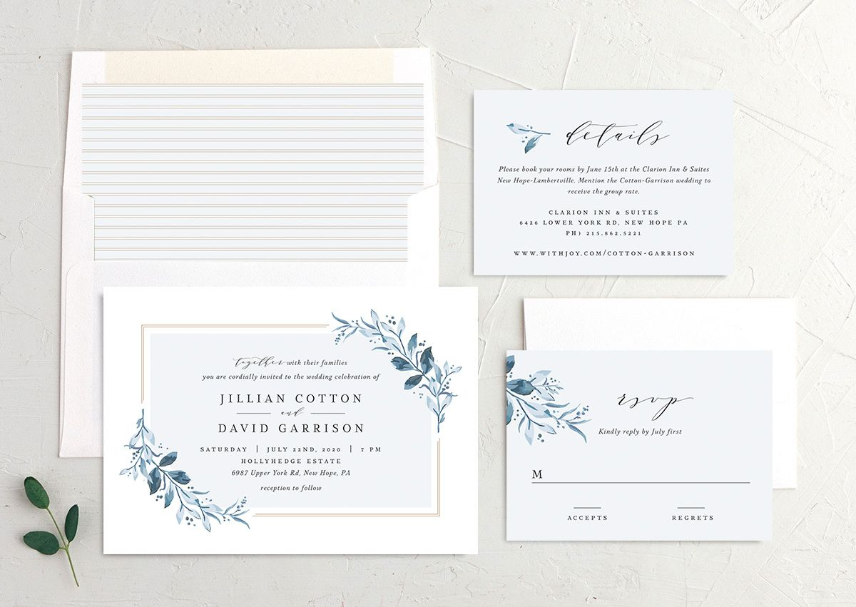 classic greenery wedding invite stationery suite in blue