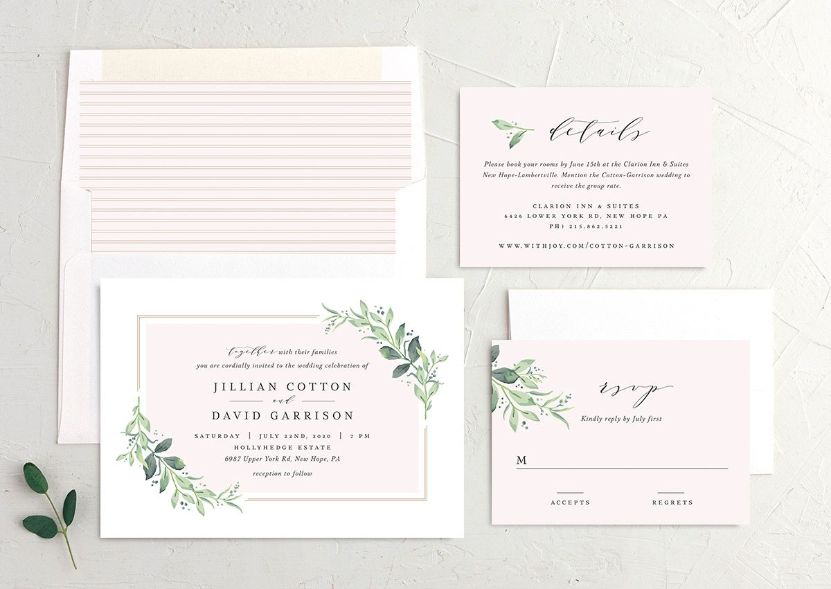 classic greenery wedding invitation stationery suite in pink