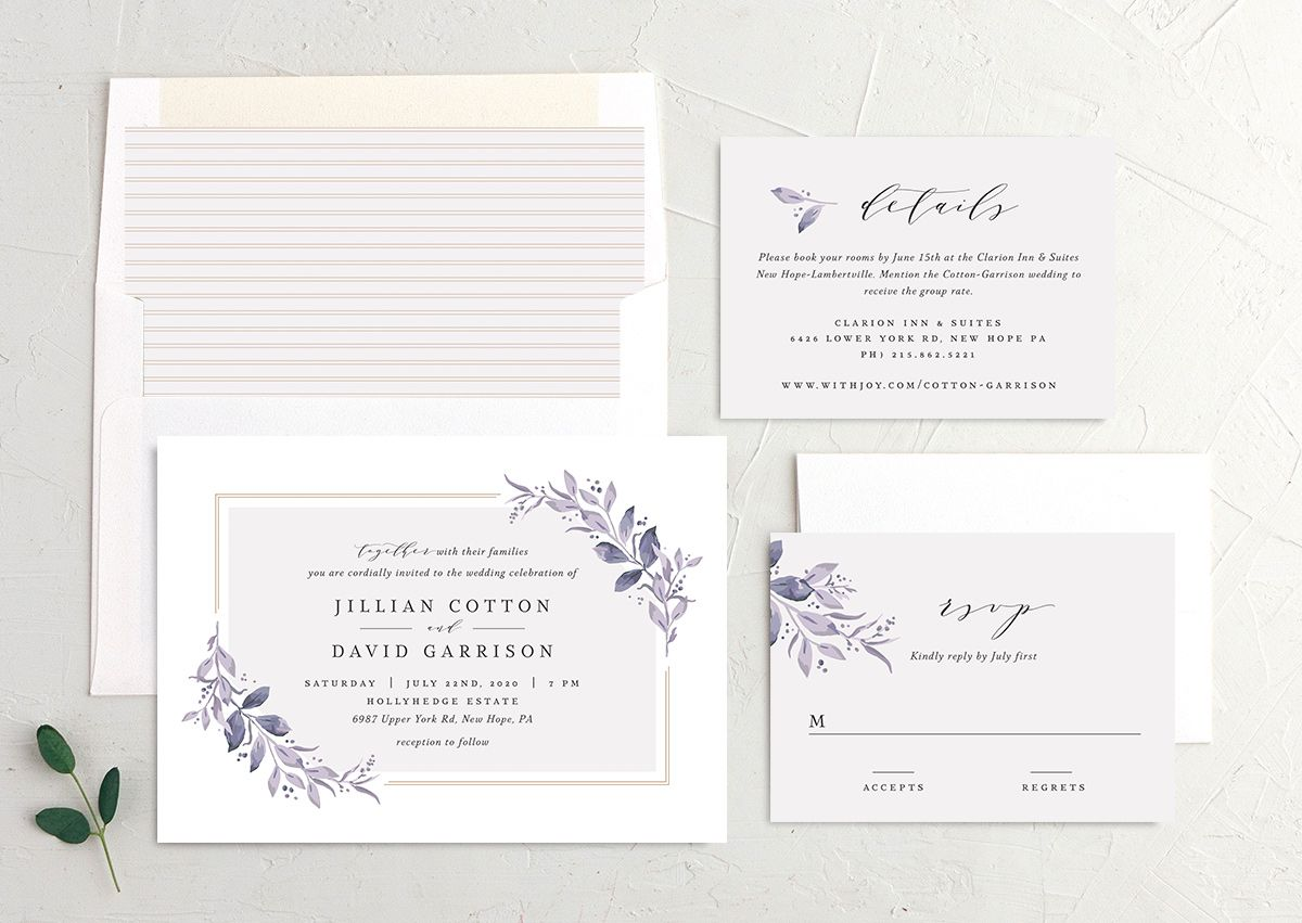 classic greenery wedding invite stationery suite in purple
