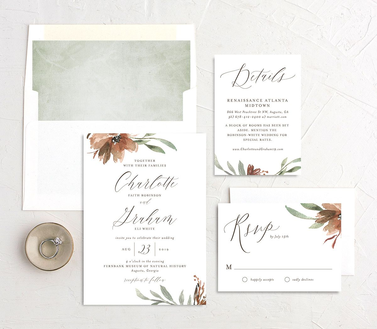 muted floral wedding invitation stationery suite in copper