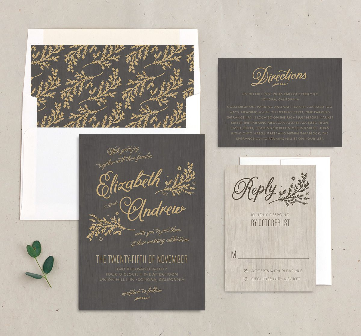 rustic chic wedding invitation stationery suite in gold