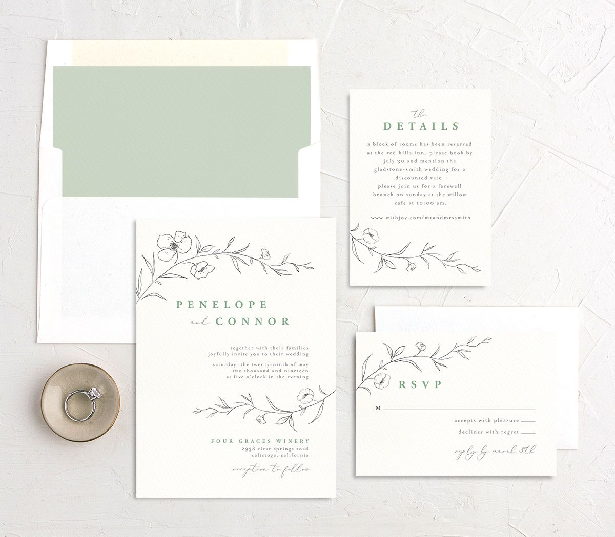 graceful botanical wedding invitation stationery suite in green