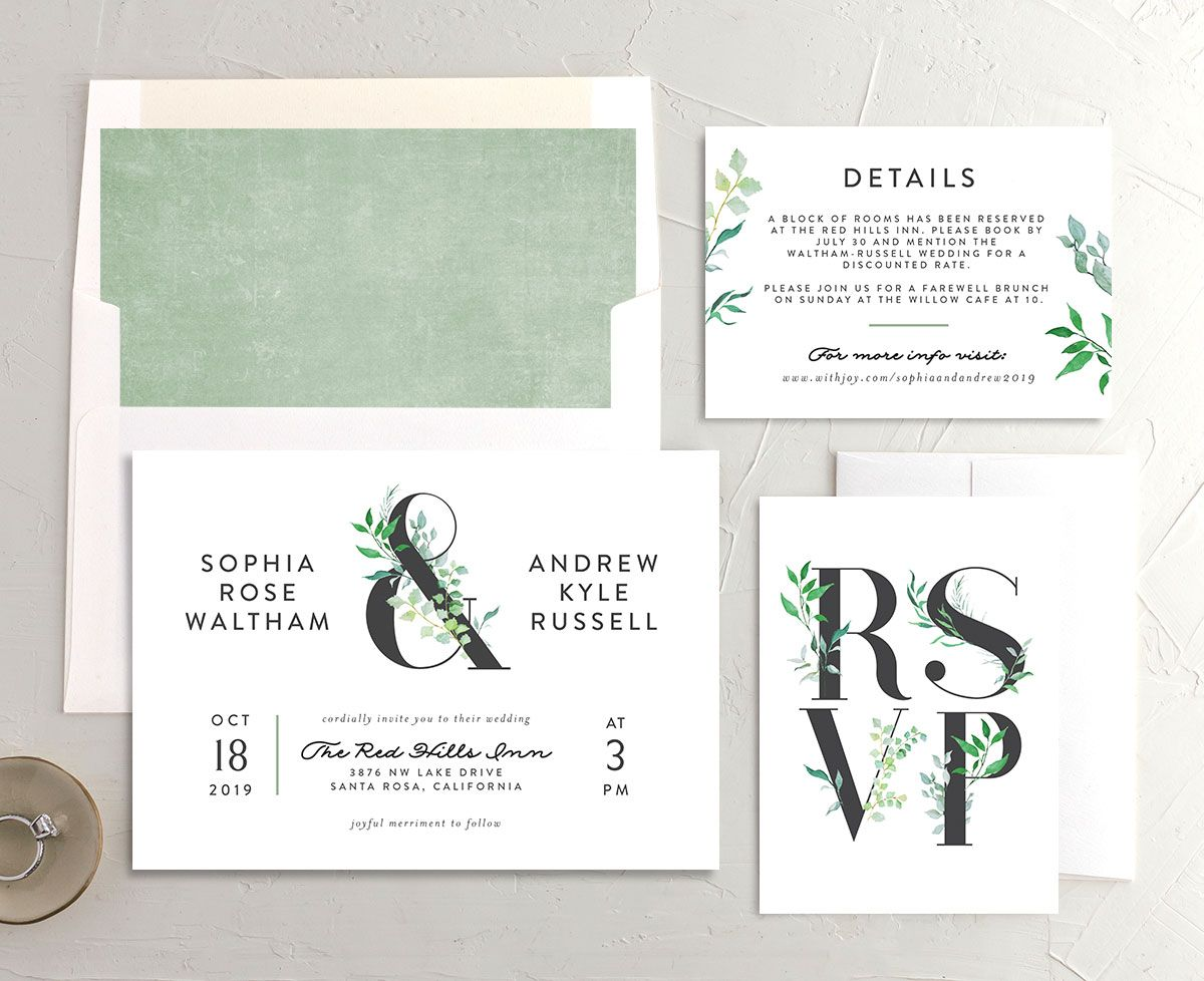 leafy ampersand wedding invite stationery suite in green