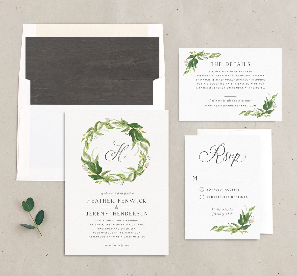 leafy wreath wedding invitation stationery suite