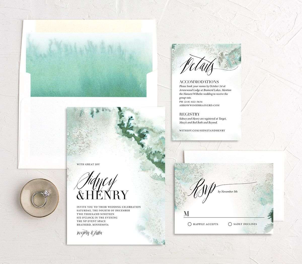 painted ethereal wedding invitation stationery suite in green