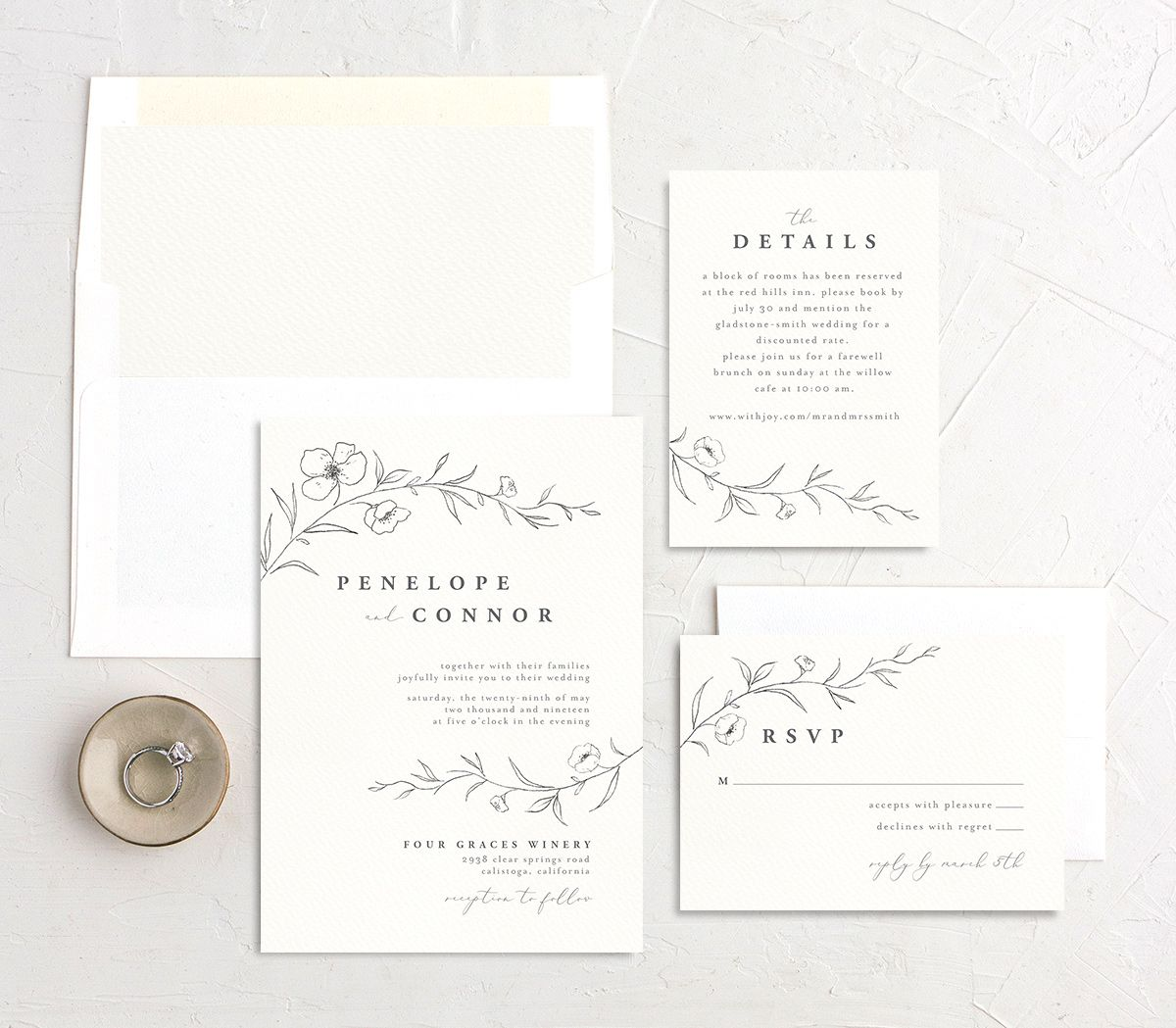 graceful botanical wedding invitation stationery suite in grey